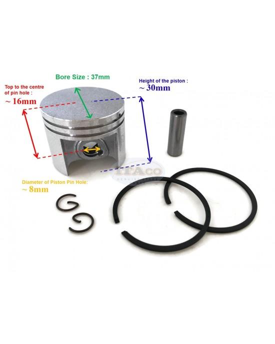 Piston Kit Assy, Ring Set, Pin, Circlip 1130 030 2000 For STIHL 017 MS170 MS 170 chainsaw 37MM motor Engine