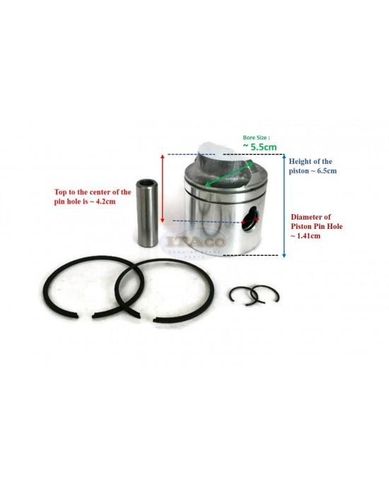 "Piston Assy Kit Ring Set 0391190 0386279 - Johnson Evinrude Outboard OMC 2 3/16"""