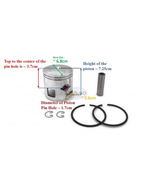 Boat Motor Piston Assy Kit Ring Set 346-00001 779 96151 for Tohatsu Nissan Mercury Outboard M NS 25HP 30HP STD 68MM 2 stroke Engine