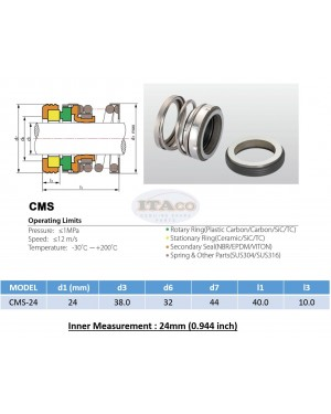 Mechanical Water Pump Shaft Seal Kit WIN 24MM Blower Diving Circulating TS560A Rotary Ring Plastic Carbon SiC TC Spring Stationary Ring Cermaic Seal CMS Engine